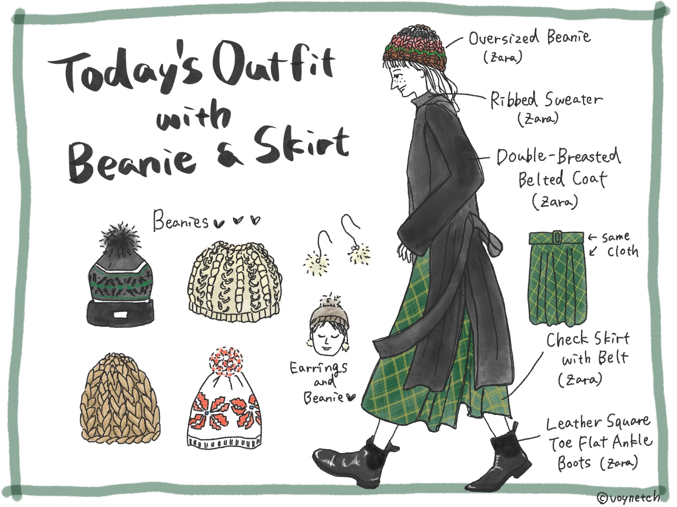 Today's Outfit with Beanie & Skirt