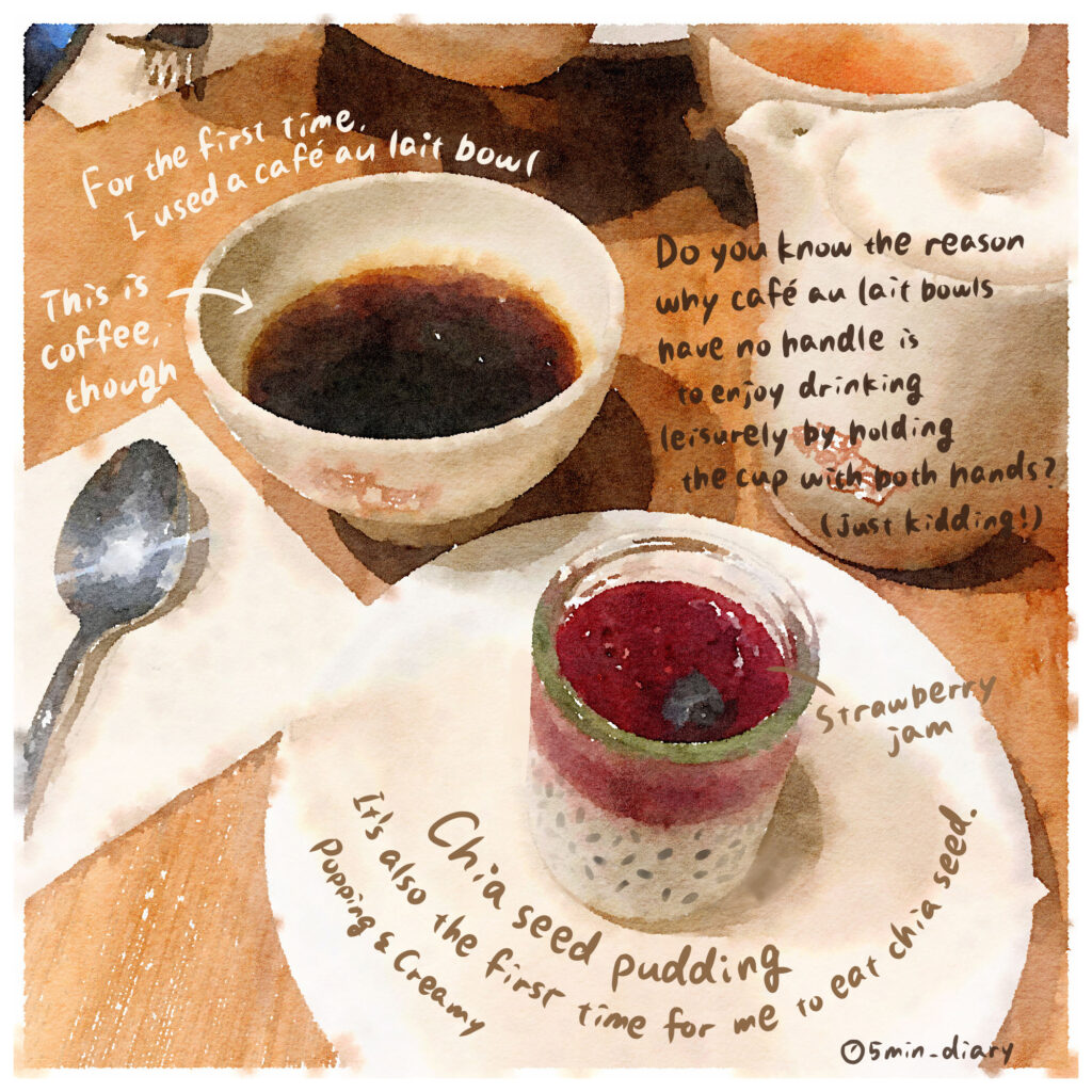 Cafe au lait bowl & chia seed pudding