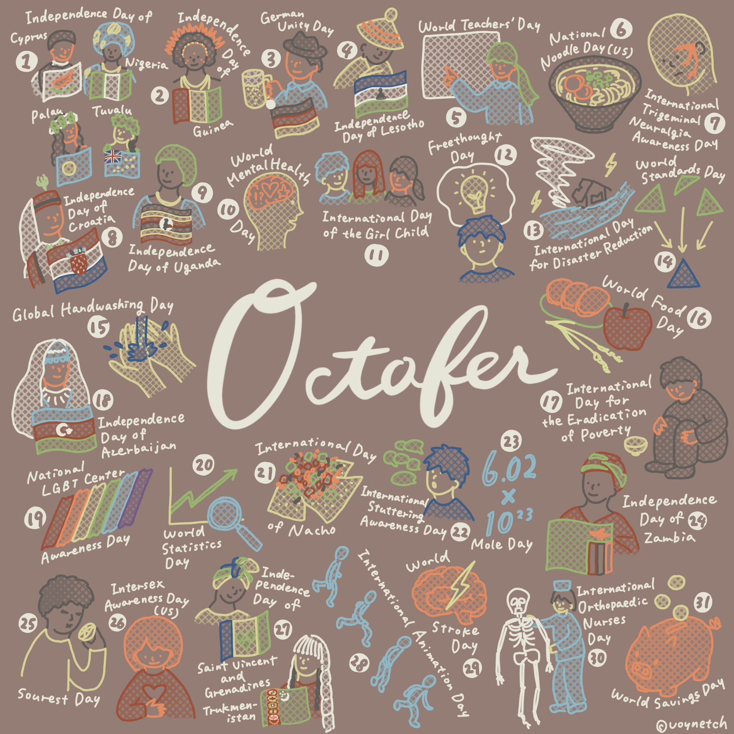 October Calendar of Holidays & Observances Image