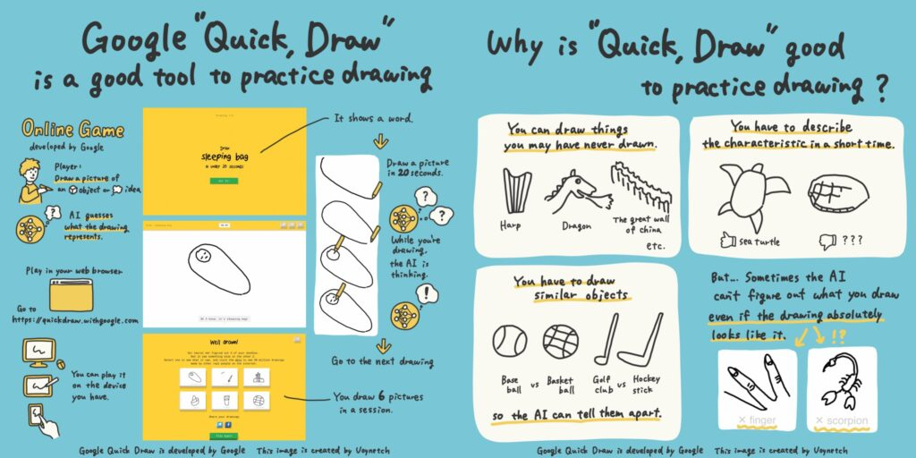 "Google ""Quick, Draw!"" is a good tool to practice drawing"